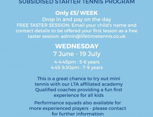 Southfields – New players free tasters and £5 Drop Ins available Wednesday in June/July